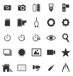 Camera icons on white background vector