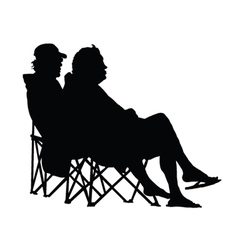 Couple sitting and enjoying silhouette vector