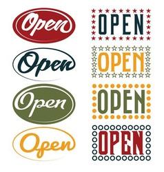 Open sign retro collection vector