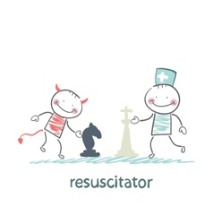 Resuscitator carry on a stretcher vector
