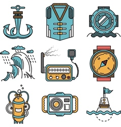 Flat line style nautical icons vector