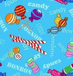 Seamless candy pattern over blue with bonbon and vector