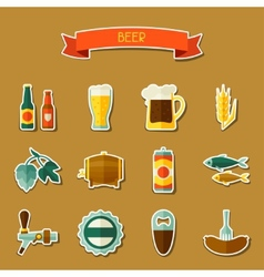 Beer sticker icon and objects set for design vector