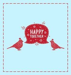 Card birds happy together vector