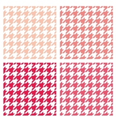 Tile pink houndstooth pattern or background set vector