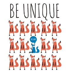 Poster with foxes greeting card with typography vector