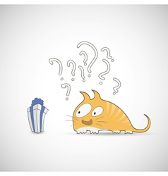 Surprised cat with gift and question vector