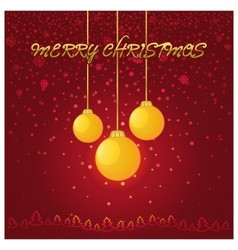 Red christmas background with a yellow glass ball vector
