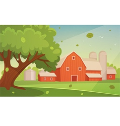 Farm cartoon landscape vector