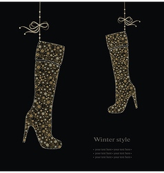 Winter fashion boots vector