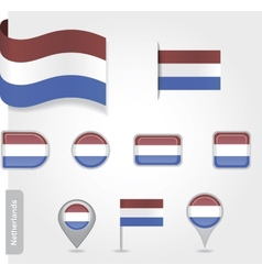 The netherlands flag - set of icons and flags vector