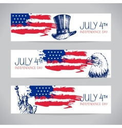 Banners of 4th july backgrounds with american flag vector