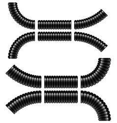 Black corrugated flexible tubes vector