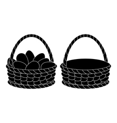 Baskets empty and with eggs silhouettes vector