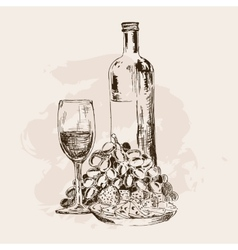Bottle of wine glass grapes and snacks vector