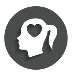 Head with heart sign icon female woman head vector
