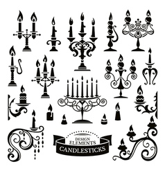 Silhouettes of candlesticks vector