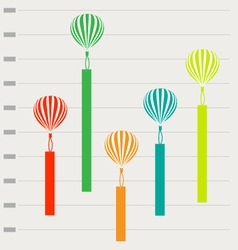 Line graphs are pull by balloon vector