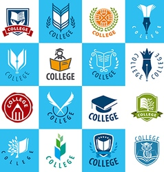 Large set of logos college vector