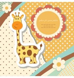 Vintage baby giraffe vector