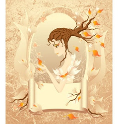 Autumn girl with a scroll on grunge background vector