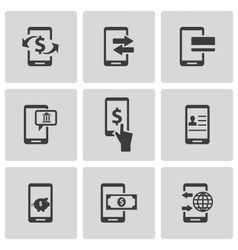 Black mobile banking icons set vector