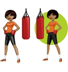 Cute young african american woman boxer vector