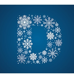 Letter d font frosty snowflakes vector