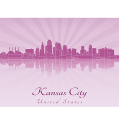 Kansas city skyline in purple radiant orchid vector