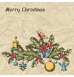 Merry christmas hand drawn invitation card vector