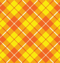 Orange yellow tartan fabric texture diagonal vector