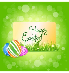 Easter card with grass and decorated eggs vector