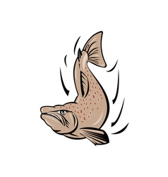 Angry salmon fish jumping retro vector