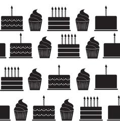 Birthday cake flat seamless pattern background vector