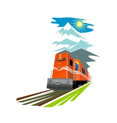 Diesel train retro vector