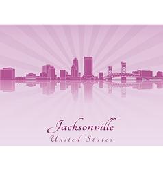 Jacksonville skyline in purple radiant orchid vector