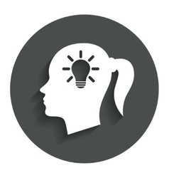 Head with lamp bulb sign icon female woman head vector