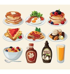 Classic breakfast cartoon set vector