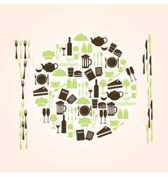 Restaurant and pub icons plate shape eps10 vector