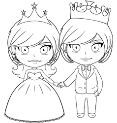 Prince and princess coloring page 3 vector