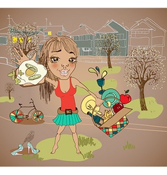 Summer picnic cartoon with funny girl vector