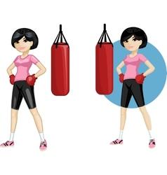 Cute young asian woman boxer vector