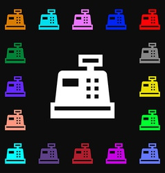 Cash register icon sign lots of colorful symbols vector