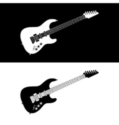 Black and white electric guitar vector