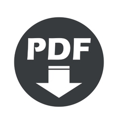 Monochrome round pdf download icon vector
