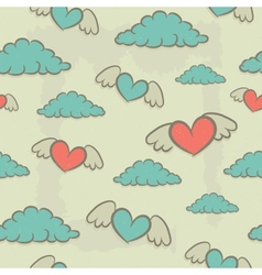 Seamless pattern hearts with wings vintage vector