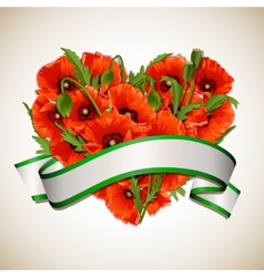 Flower heart of red poppies with ribbon vector