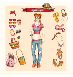 Hipster girl set vector