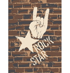 Rock sign brick wall vector