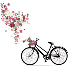 Bike with a basket in decorative flowers vector